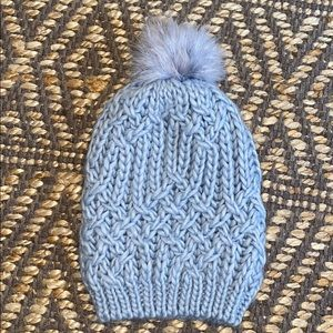Merona Light Blue Knit Beanie w/ Faux Fur Pom Pom